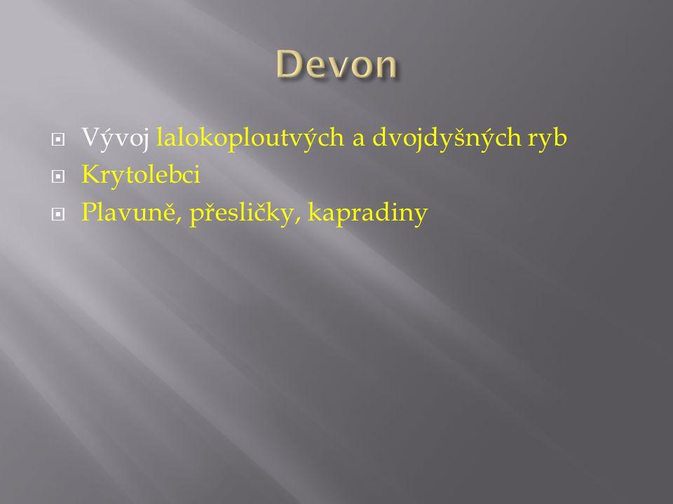 Devon Vývoj lalokoploutvých a dvojdyšných ryb Krytolebci