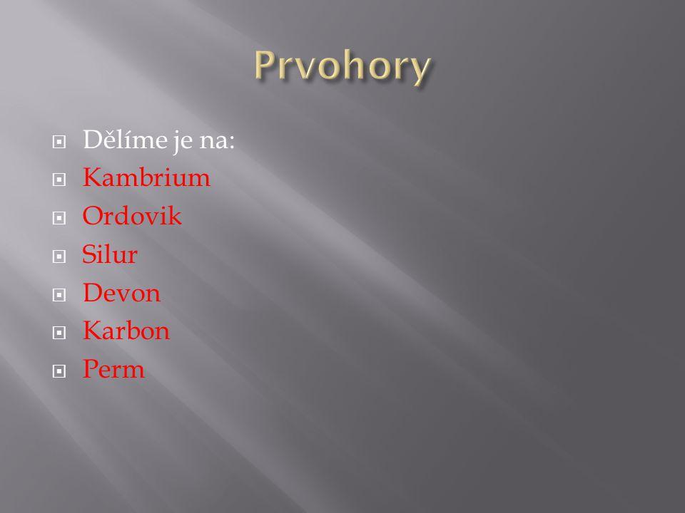 Prvohory Dělíme je na: Kambrium Ordovik Silur Devon Karbon Perm