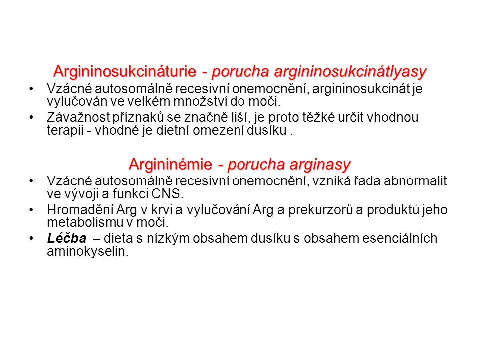 Argininosukcináturie - porucha argininosukcinátlyasy