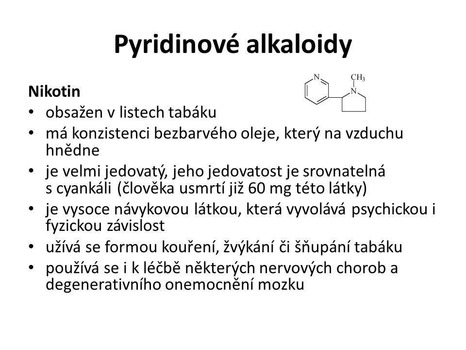 Pyridinové alkaloidy Nikotin obsažen v listech tabáku