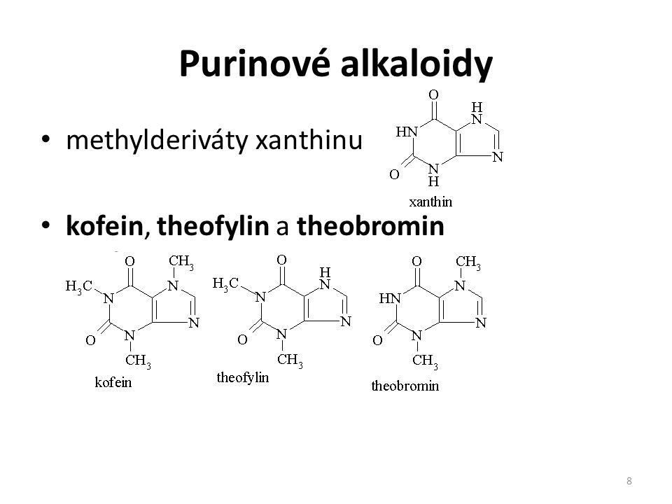 Purinové alkaloidy methylderiváty xanthinu