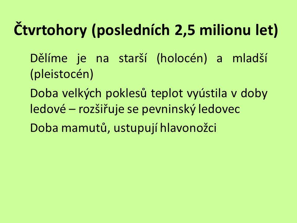 Čtvrtohory (posledních 2,5 milionu let)