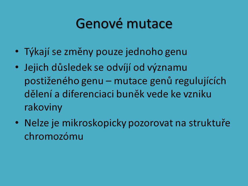 Genové mutace Týkají se změny pouze jednoho genu