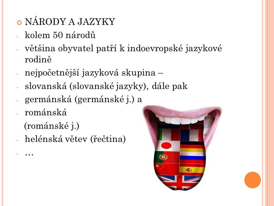 NÁRODY A JAZYKY kolem 50 národů. většina obyvatel patří k indoevropské jazykové rodině. nejpočetnější jazyková skupina –