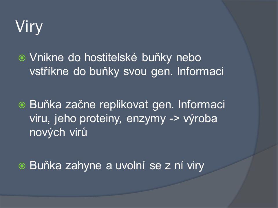 Viry Vnikne do hostitelské buňky nebo vstříkne do buňky svou gen. Informaci.