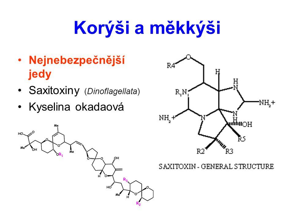 Korýši a měkkýši Nejnebezpečnější jedy Saxitoxiny (Dinoflagellata)