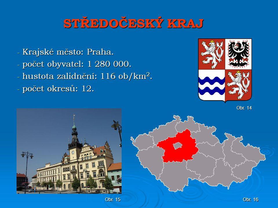 STŘEDOČESKÝ KRAJ Krajské město: Praha. počet obyvatel: 1 280 000.
