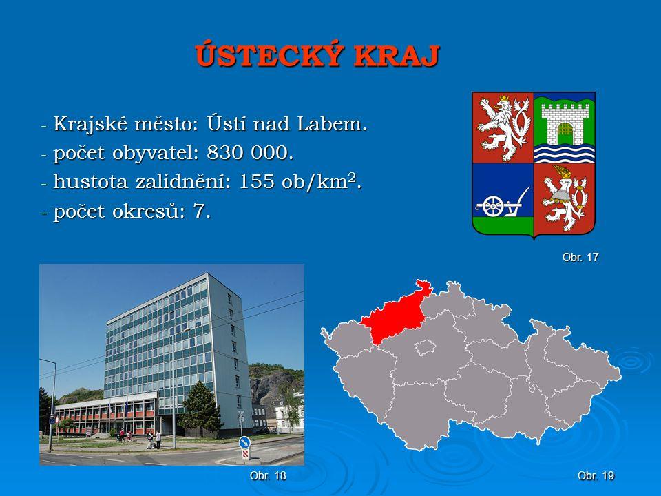 ÚSTECKÝ KRAJ Krajské město: Ústí nad Labem. počet obyvatel: 830 000.
