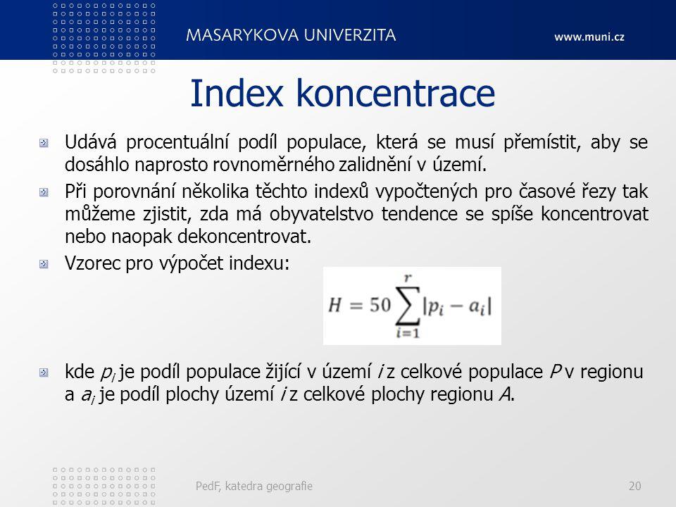 Index koncentrace Udává procentuální podíl populace, která se musí přemístit, aby se dosáhlo naprosto rovnoměrného zalidnění v území.