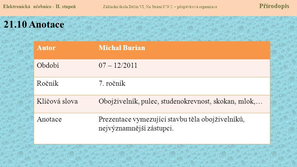 21.10 Anotace Autor Michal Burian Období 07 – 12/2011 Ročník 7. ročník