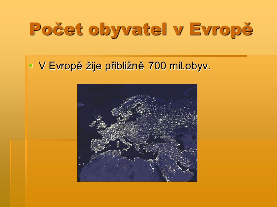 Počet obyvatel v Evropě