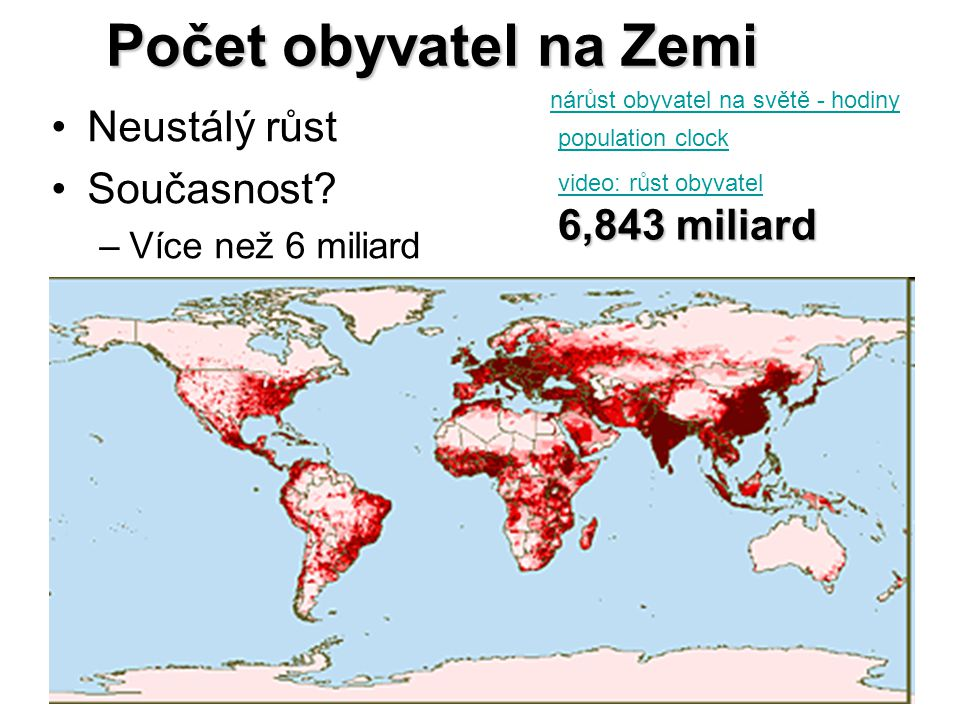 Počet obyvatel na Zemi Neustálý růst Současnost 6,843 miliard