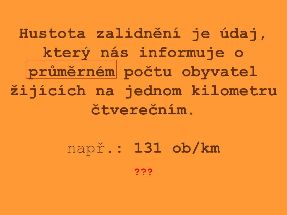 Hustota zalidnění je údaj, který nás informuje o průměrném počtu obyvatel žijících na jednom kilometru čtverečním.