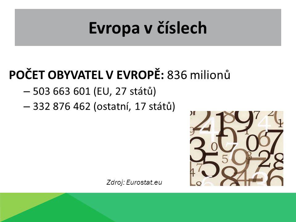 Evropa v číslech POČET OBYVATEL V EVROPĚ: 836 milionů