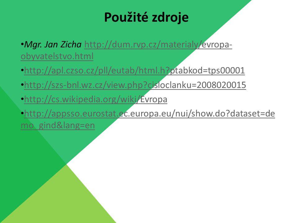 Použité zdroje Mgr. Jan Zicha http://dum.rvp.cz/materialy/evropa-obyvatelstvo.html. http://apl.czso.cz/pll/eutab/html.h ptabkod=tps00001.