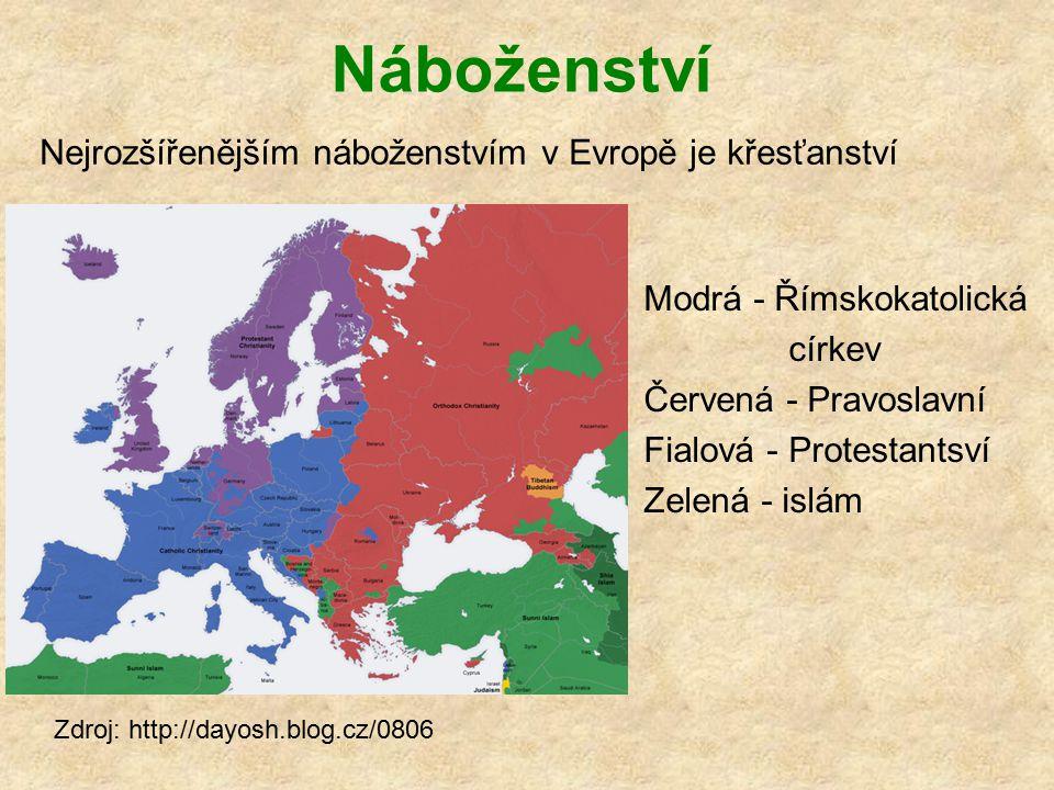 Náboženství Nejrozšířenějším náboženstvím v Evropě je křesťanství