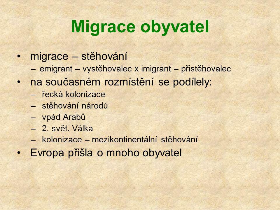 Migrace obyvatel migrace – stěhování