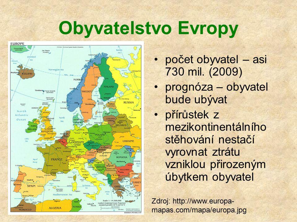 Obyvatelstvo Evropy počet obyvatel – asi 730 mil. (2009)