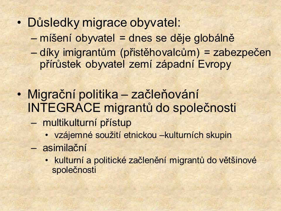 Důsledky migrace obyvatel: