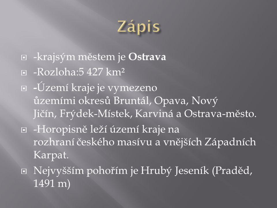 Zápis -krajsým městem je Ostrava -Rozloha:5 427 km²