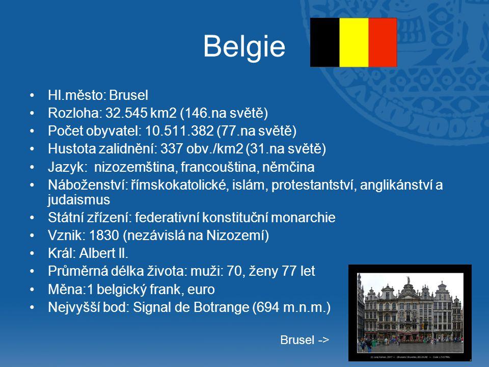 Belgie Hl.město: Brusel Rozloha: 32.545 km2 (146.na světě)