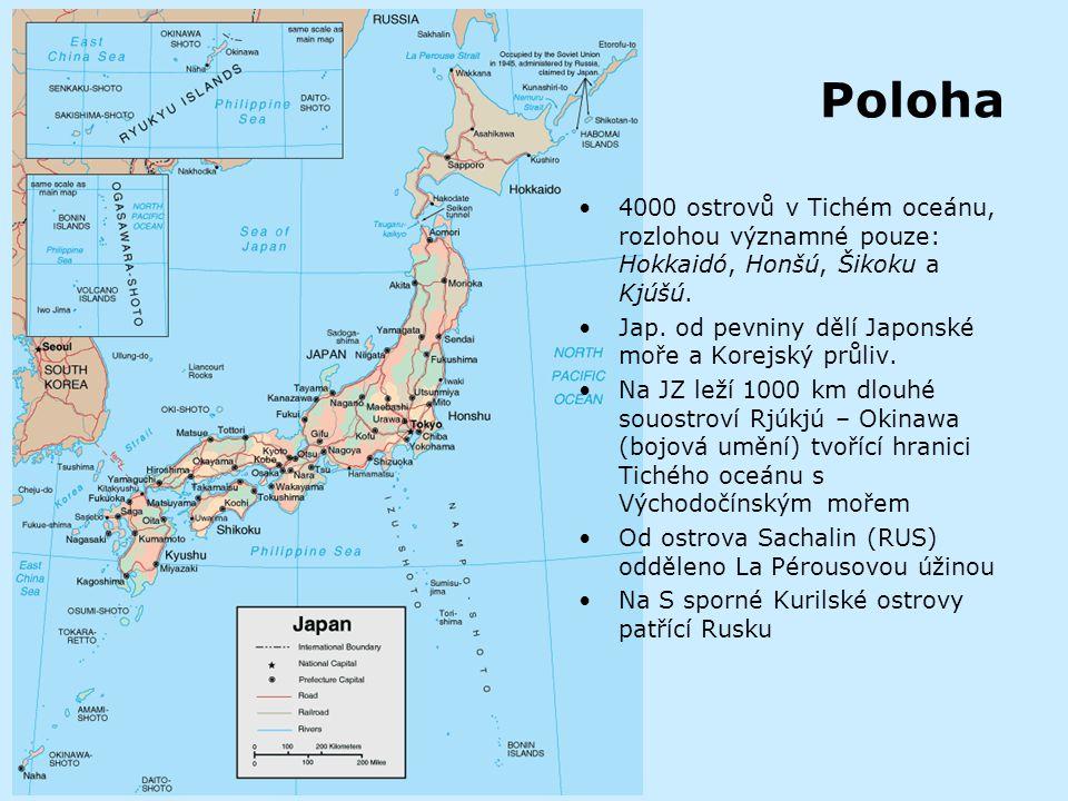 Poloha 4000 ostrovů v Tichém oceánu, rozlohou významné pouze: Hokkaidó, Honšú, Šikoku a Kjúšú. Jap. od pevniny dělí Japonské moře a Korejský průliv.