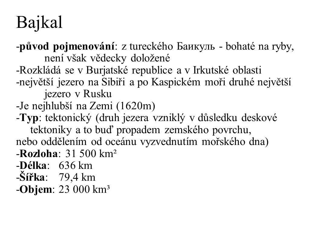 Bajkal -původ pojmenování: z tureckého Баикуль - bohaté na ryby, není však vědecky doložené.