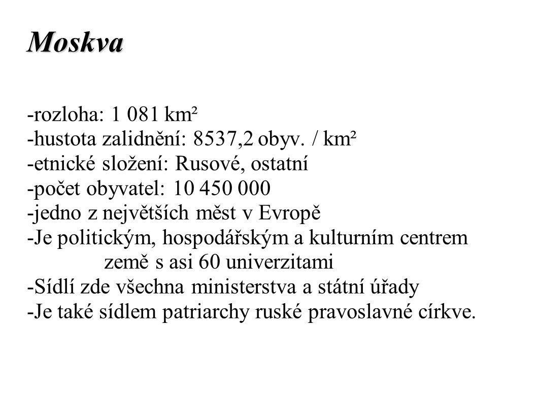 Moskva -rozloha: 1 081 km² -hustota zalidnění: 8537,2 obyv. / km²