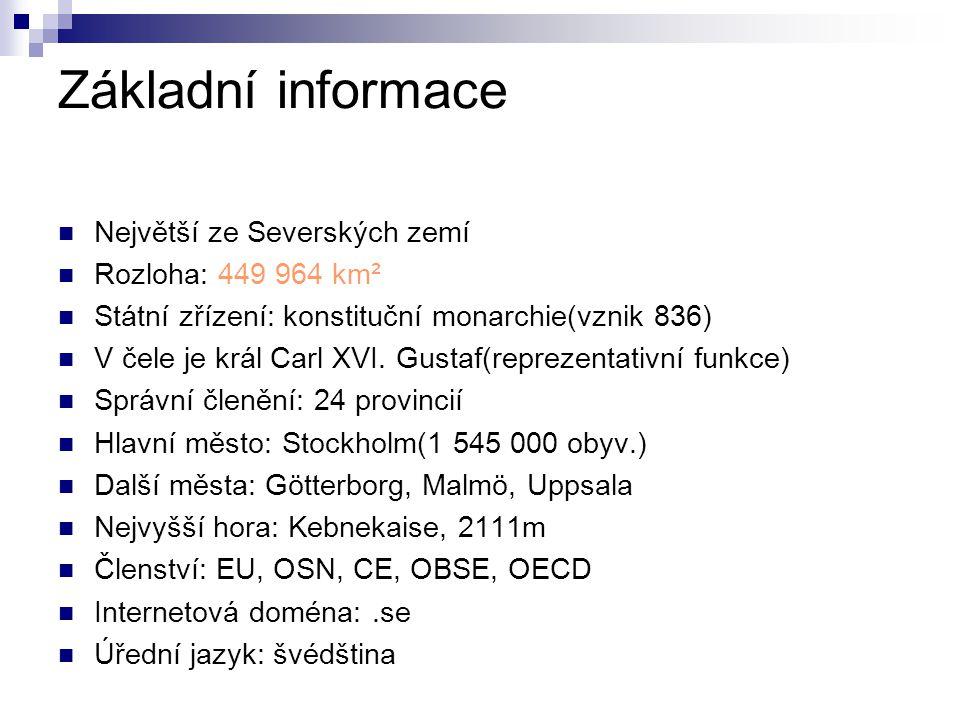 Základní informace Největší ze Severských zemí Rozloha: 449 964 km²