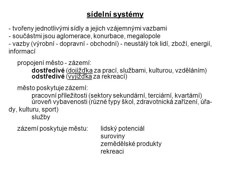 sídelní systémy - tvořeny jednotlivými sídly a jejich vzájemnými vazbami. - součástmi jsou aglomerace, konurbace, megalopole.