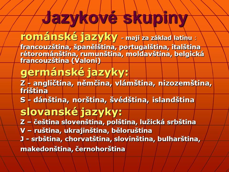 Jazykové skupiny románské jazyky - mají za základ latinu :