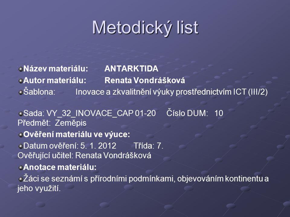 Metodický list Název materiálu: ANTARKTIDA