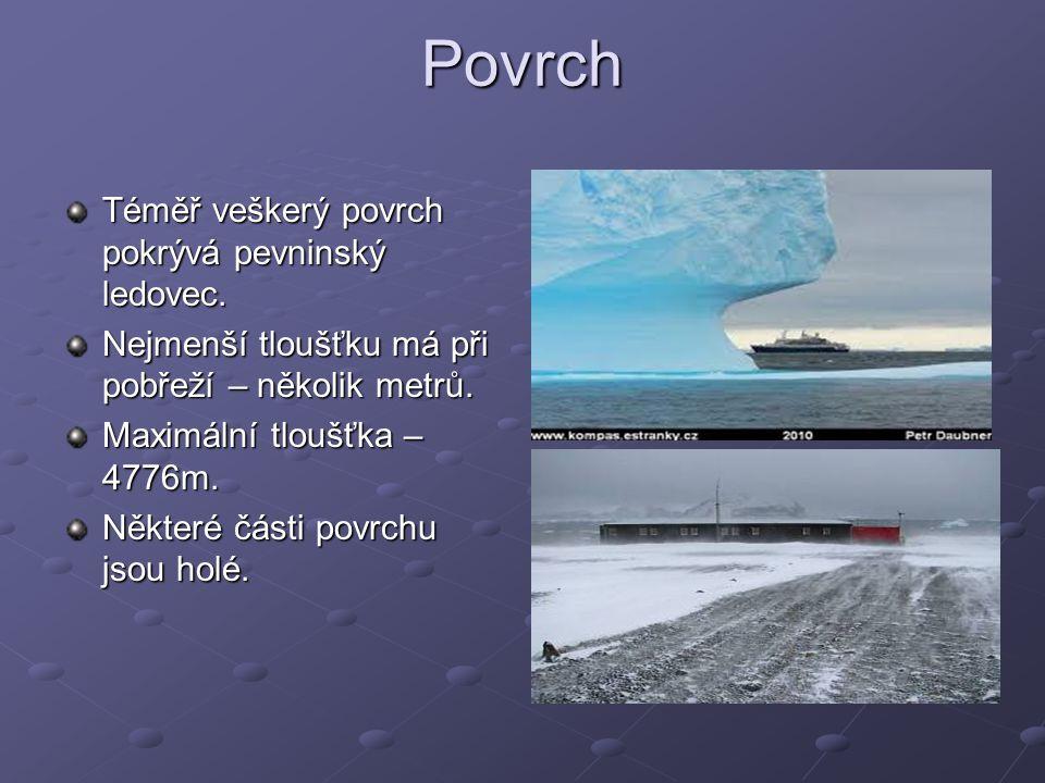 Povrch Téměř veškerý povrch pokrývá pevninský ledovec.