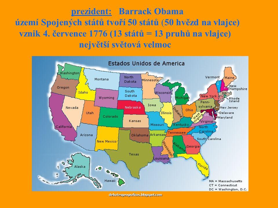 prezident: Barrack Obama území Spojených států tvoří 50 států (50 hvězd na vlajce) vznik 4. července 1776 (13 států = 13 pruhů na vlajce) největší světová velmoc
