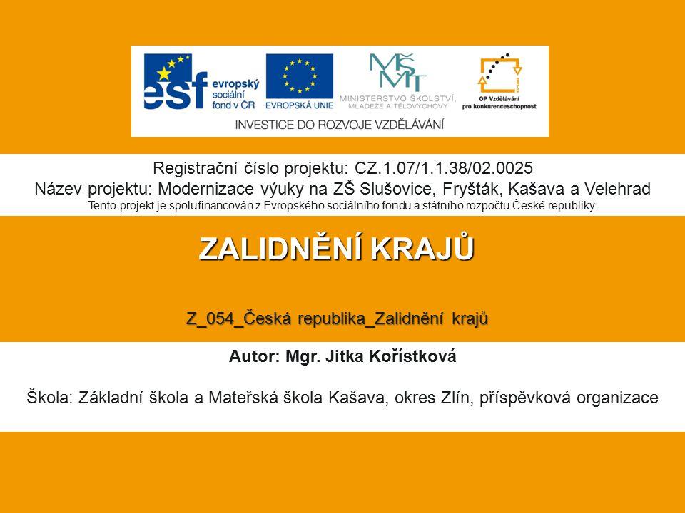 ZALIDNĚNÍ KRAJŮ Z_054_Česká republika_Zalidnění krajů