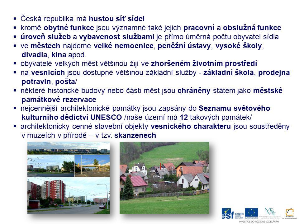 Česká republika má hustou síť sídel