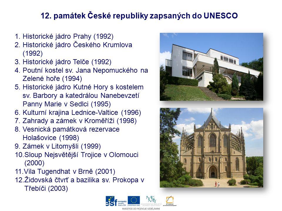 12. památek České republiky zapsaných do UNESCO