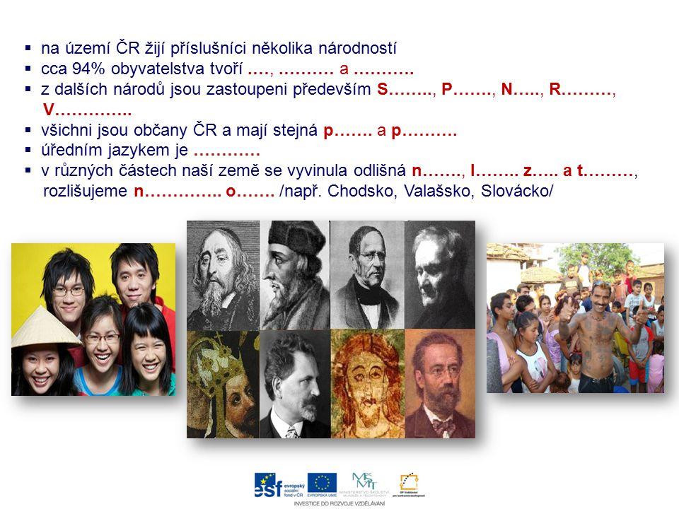 na území ČR žijí příslušníci několika národností