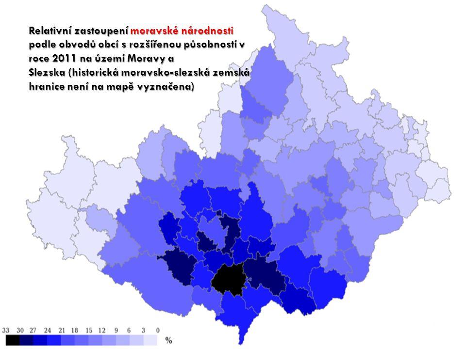Relativní zastoupení moravské národnosti podle obvodů obcí s rozšířenou působností v roce 2011 na území Moravy a Slezska (historická moravsko-slezská zemská hranice není na mapě vyznačena)