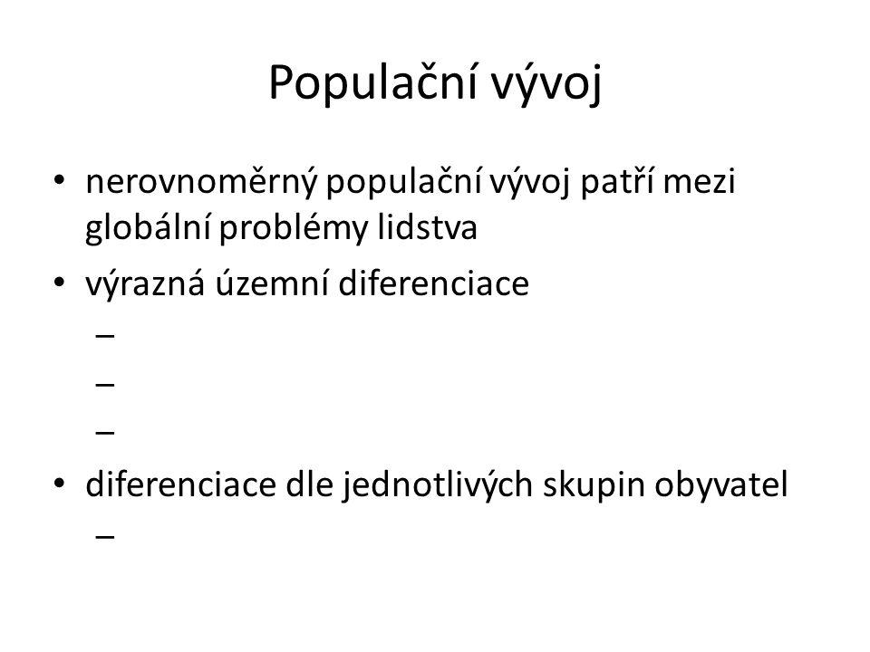 Populační vývoj nerovnoměrný populační vývoj patří mezi globální problémy lidstva. výrazná územní diferenciace.