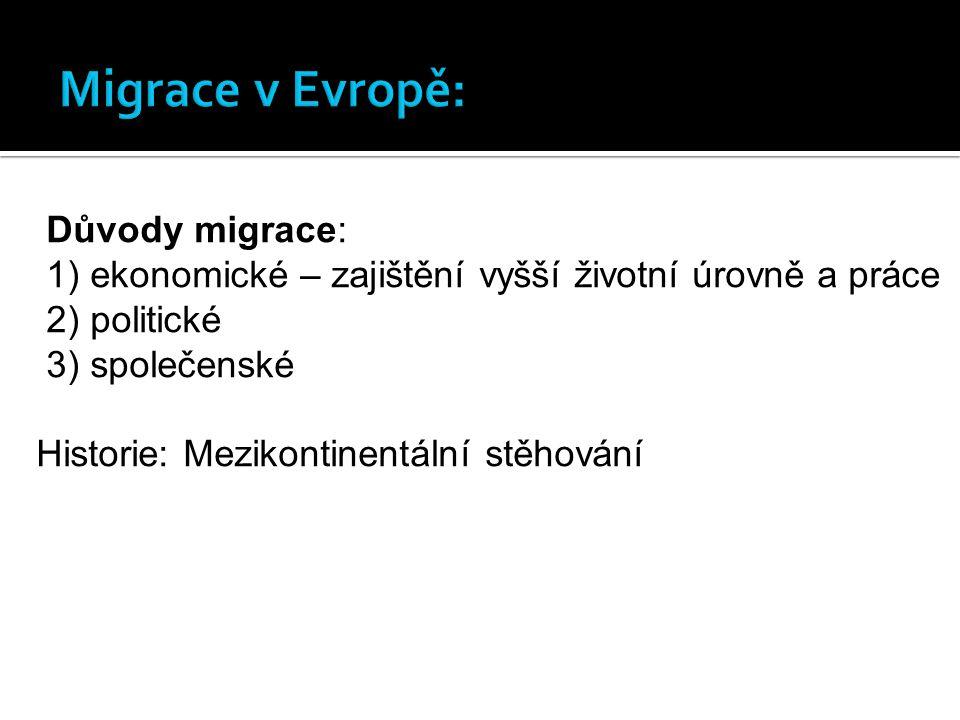 Migrace v Evropě: Důvody migrace: