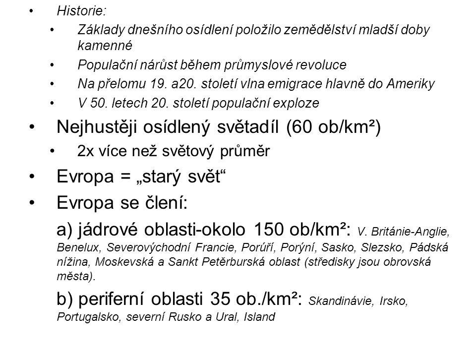 """Nejhustěji osídlený světadíl (60 ob/km²) Evropa = """"starý svět"""