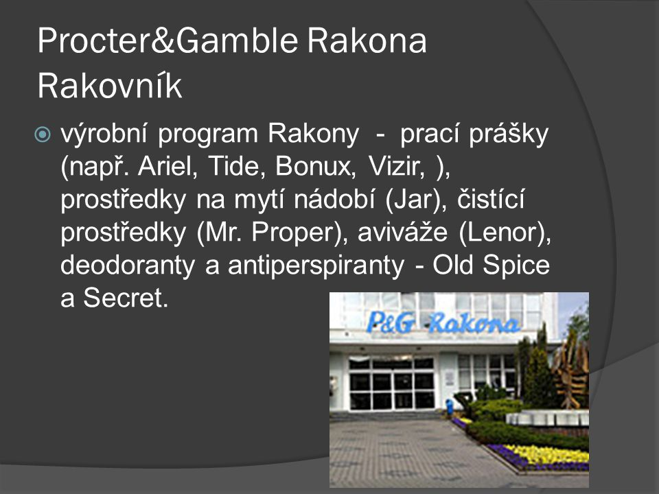 Procter&Gamble Rakona Rakovník