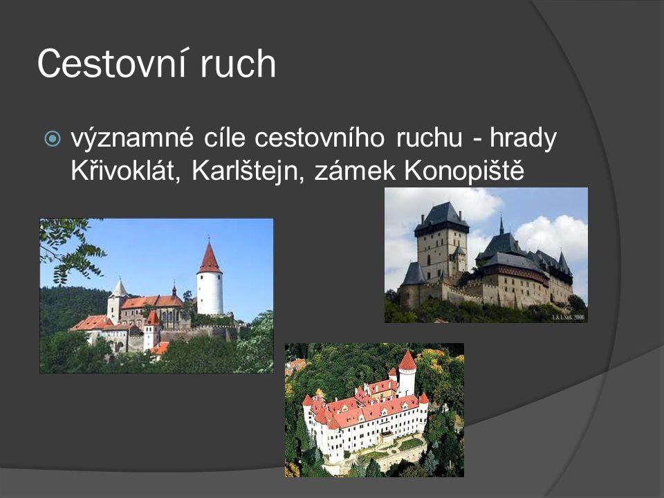 Cestovní ruch významné cíle cestovního ruchu - hrady Křivoklát, Karlštejn, zámek Konopiště