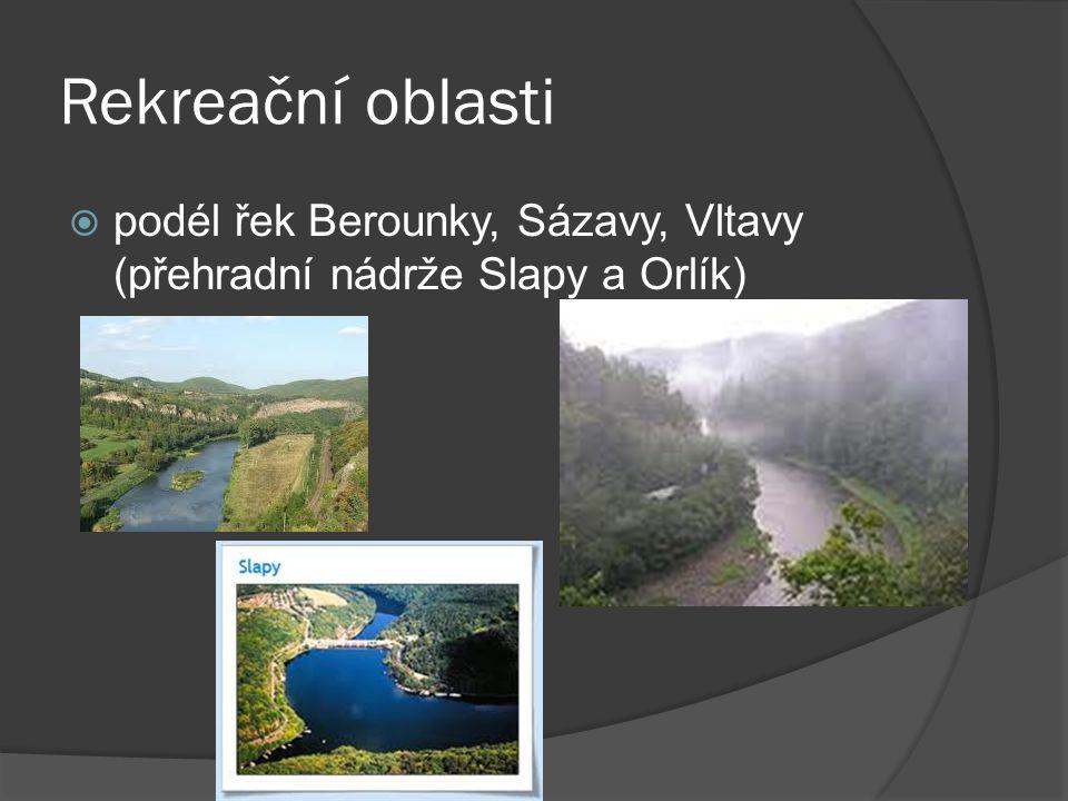 Rekreační oblasti podél řek Berounky, Sázavy, Vltavy (přehradní nádrže Slapy a Orlík)