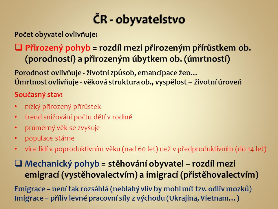 ČR - obyvatelstvo Počet obyvatel ovlivňuje: