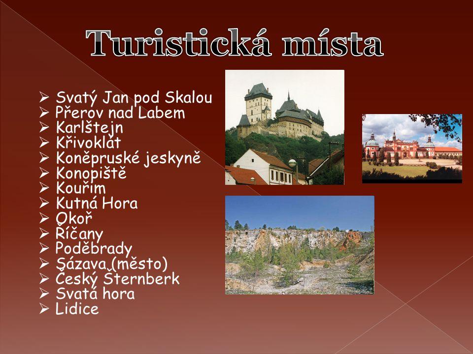 Turistická místa Svatý Jan pod Skalou Přerov nad Labem Karlštejn
