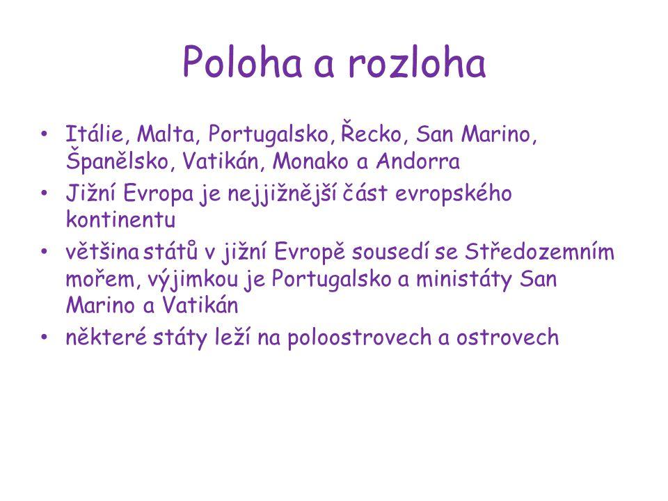 Poloha a rozloha Itálie, Malta, Portugalsko, Řecko, San Marino, Španělsko, Vatikán, Monako a Andorra.