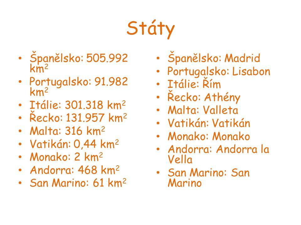 Státy Španělsko: 505.992 km2 Portugalsko: 91.982 km2