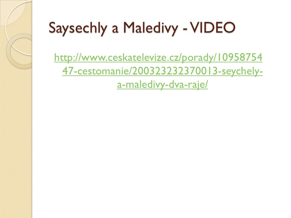 Saysechly a Maledivy - VIDEO